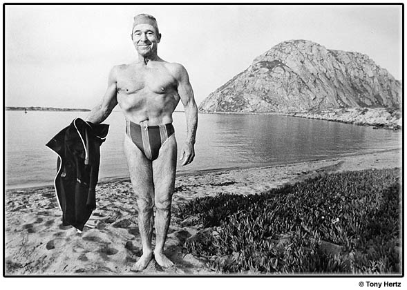 Jack LaLanne pauses after a swim in Morro Bay, CA.
